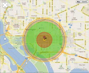 Damage radius of a nuclear blast in Washington D.C.
